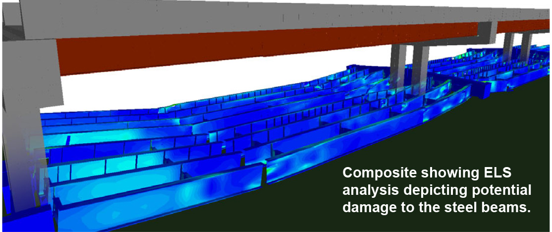 Composite showing ELS analysis depicting potential damage to the steel beams