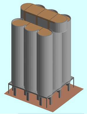 Ambev Silo Demolition:  ELS model of the small silos