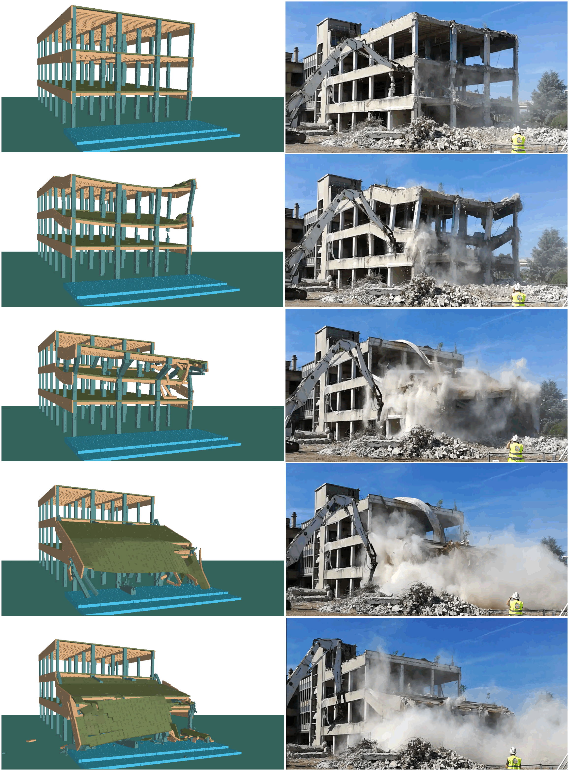Side-by-Side Comparison of ELS Simulation and Actual Demolition