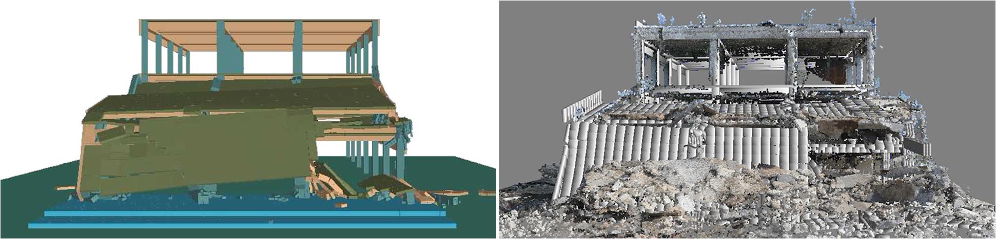 ELS Results Compaired to 3D Laser Scan of Site After Demolition